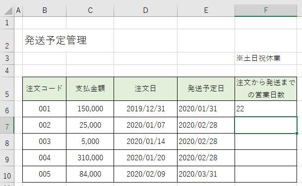 期間内の営業日数が分かりました